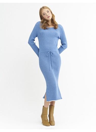 BGN Mavi - Şerit Detaylı Triko Elbise Mavi